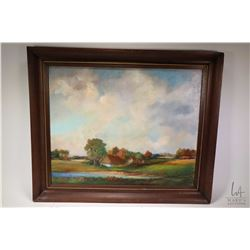 """Framed oil on canvas painting titled and signed on verso Warsaw 1987, Jerzy Bogusz, 19"""" X 24"""""""