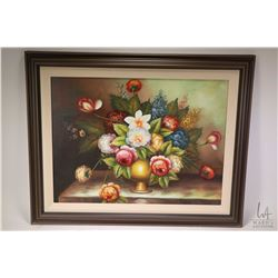 "Framed oil on canvas floral still-life, no artist signature visible, 17 1/2"" X 23 1/2"""