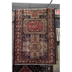 100% Iranian Ardebil wool area carpet with multiple stylized medallions, floral and animal design, i