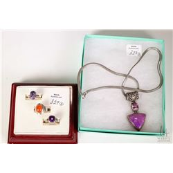 "A 20"" Italian made sterling silver necklace and gemstone set pendant plus three stamped sterling sil"