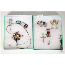 Two tray lots of jewellery including brooches, gemstone set pendants, turquoise style pendant and ea