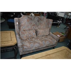 Modern vintage style settee with matching cushions with taupe background and blue and cream highligh