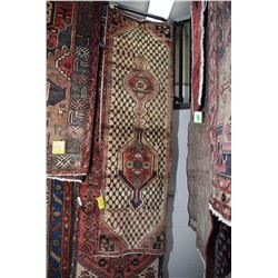 100% Iranian wool carpet runner with unusual double medallion, soft taupe background, geometric cris