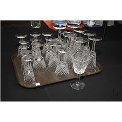 "Selection of Waterford Alana crystal stemware including four 7"" water goblets, four 7"" champagne flu"