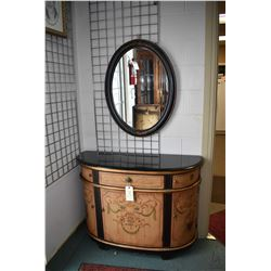"Modern bombe style flat to the wall cabinet with granite top 45"" wide plus a oval framed wall mirror"