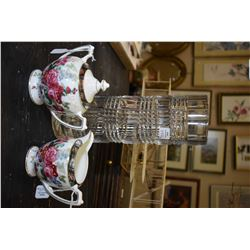 "Ralph Lauren 12"" tall crystal cylinder vase and a Ralph Lauren Hampton Floral lidded sugar bowl and"