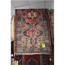 100% Iranian Zanjan wool area carpet with triple medallion and overall stylized floral and animal de
