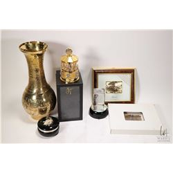 "Tray lot of collectibles including 12"" engraved heavy brass vase, light up glass bride and groom, a"
