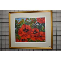 Framed acrylic on canvas painting labeled and titled on verso Oriental Poppies '09 by German born ar