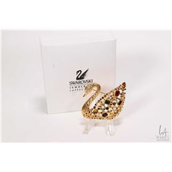 Gold toned Swarovski crystal jewelled swan brooch