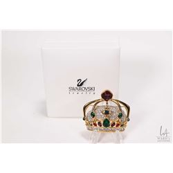Large gold toned Swarovski crystal jewelled crown brooch