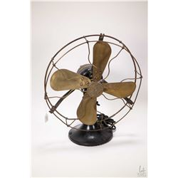 Antique cast and brass G.E. osscilating fan, not tested, need rewiring