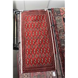 100% Iranian wool scatter rug with red background, geometric pattern and highlights of cream etc. 24