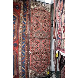 100% Iranian Hamdan wool carpet runner with center medallion, overall floral, red background and hig