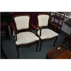 Pair of modern Queen Anne style open arm parlour chairs with Damask upholstery