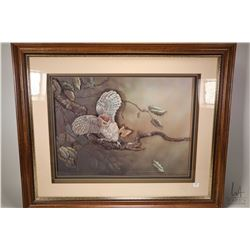 "Shadow box framed papertoile owl, signed on front of glass "" Tole by Florence '86"" overall framed di"