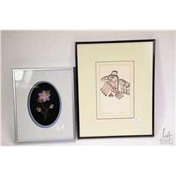 Two framed artworks including a moose hair tufted flower by Gladys Lavallee, overall framed dimensio
