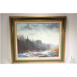 "Framed oil on canvas painting of a river and mountain scene signed by artist Robert Simpson, 20"" X 2"
