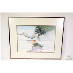 Three framed original watercolour paintings including two floral still-life paintings and a winter c