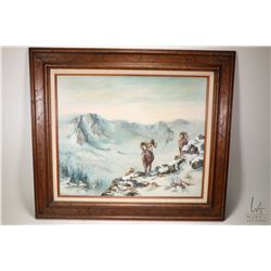 "Framed oil on canvas painting labelled on verso ""Bighorn Sheep"" by artist L. ( Lorraine) Kuehntopp,"