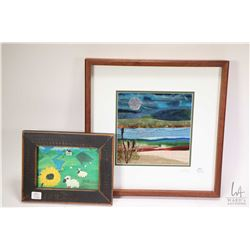 Four pieces of wall art including framed watercolour on board painting of sheep by Sharon Atkinson,