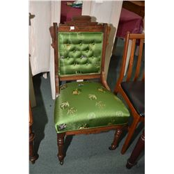 Antique Eastlake side chair with Oriental silk style upholstery