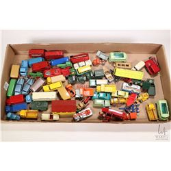 Large selection of mostly vintage Lesney and Husky die cast toys including buses, cars, trailers, tr