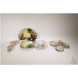 Hand painted Nippon dish and a hand painted Noritake dish, Japanese teacup, saucer and side plate wi