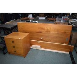 Canadian made mid century teak Queen sized bed and matching three drawer side table