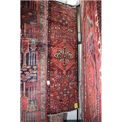 100% Iranian Zanjan wool carpet runner with center medallion, stylized florals and animals, burgundy