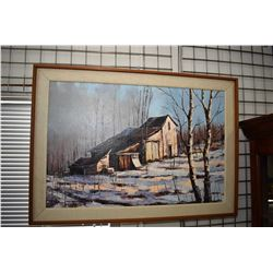 """Framed oil on canvas of a winter homestead signed by artist S. Fournier, 23 1/2"""" X 35 1/2"""". Note: No"""