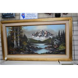 "Gilt framed oil on canvas mountain landscape signed by artist R. Berger, 17 1/2"" X 35"""