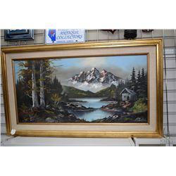 "Gilt framed oil on canvas mountain landscape signed by artist R. Berger, 17 1/2"" X 35"""