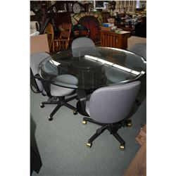 """52"""" diameter bevelled glass and simulated marble column style based table and four swivel office cha"""