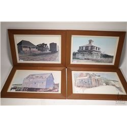 Ten framed prints of Canadian landmarks including CN Station in Nova Scotia, homestead in Quebec, Vi