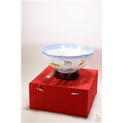 """Fine Chinese egg shell porcelain 11"""" diameter bowl hand painted with fish motif, includes fitted box"""