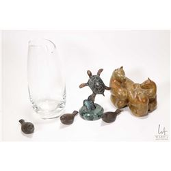 """Tray lot of collectibles including crystal vase 9"""" in height, an art glass sculpture """"Alberta at the"""