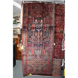 100% Iranian Zanjan wool carpet with one direction stylized tree with floral and fauna decoration, n