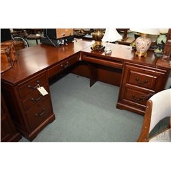 Quality modern L-shaped executive office desk with keyboard drawers, computer storage and filing dra