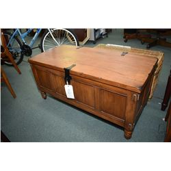 Tudor style hinged lid chest with simulated hand hammered hardware