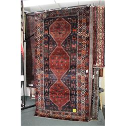 100% Iranian Saveh wool area carpet with triple medallion, stylized animals, navy background and hig