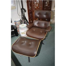 Modern Eames style chair with matching stool