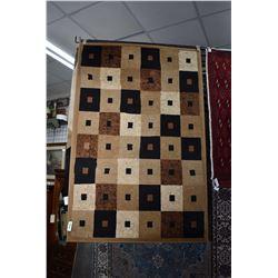 "Modern Olefine heat set area carpet in tile black, taupe and cream tile design 47"" X 71"""