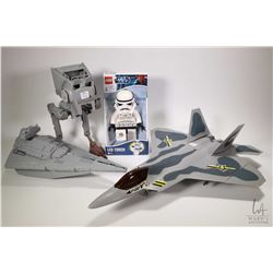 Selection of toys including Star Wars giant Lego storm trooper LED flashlight, Star Wars Imperial AT
