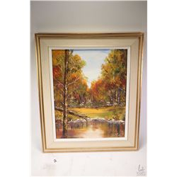 """Framed acrylic on board painting titled on verso """"Lake Autumn 1979"""" and signed by artist Dr. M. ( Ma"""