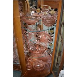 Large selection of pink depression glass including water jug and six glasses, large double handled b