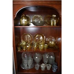 Large selection of depression glass including colourless Iris pattern jug, six parfait glasses, vase