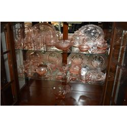Large collection of pink Royal Lace depression glass including pitcher, six large juice glasses and