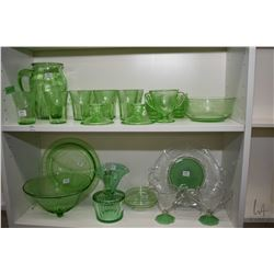 Selection of green depression glass including pitcher and eight glasses, six small dishes, pair of c