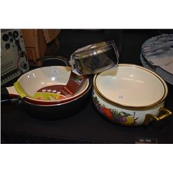 Two new Wok frying pan, a Cornucopia enamel Dutch oven with brass handles and finial plus a T-fal Ma